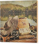 Fly Fishing Equipment  With Vintage Look Wood Print by Sandra Cunningham