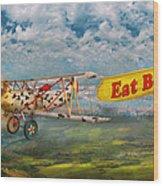 Flying Pigs - Plane - Eat Beef Wood Print by Mike Savad
