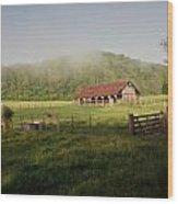 Foggy Barn Wood Print by Marty Koch