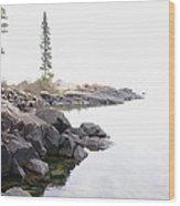 Foggy Day On Lake Superior Wood Print by Sandra Updyke