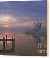 Foggy Sunset Over Swansboro Wood Print by Benanne Stiens