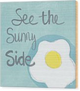 Food- Kitchen Art- Eggs- Sunny Side Up Wood Print by Linda Woods