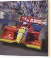 Formula Racing Car At Speed Wood Print by Don Hammond