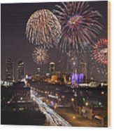 Fort Worth Skyline At Night Fireworks Color Evening Ft. Worth Texas Wood Print by Jon Holiday