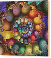 Fractal Textured Spiral Wood Print by Peggi Wolfe