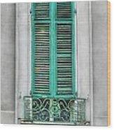 French Quarter Window In Green Wood Print by Brenda Bryant