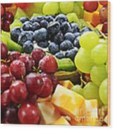 Fresh Fruits And Cheese Wood Print by Elena Elisseeva