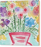 Fresh Picked Flowers- Contemporary Watercolor Painting Wood Print by Linda Woods