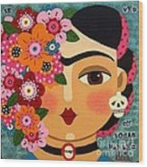 Frida Kahlo With Flowers And Skull Wood Print by LuLu Mypinkturtle