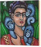 Fridas Triplets Wood Print by Victoria De Almeida