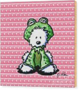 Frog Prince Westie Dog Wood Print by Kim Niles
