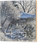 Frosty Winter Window Wood Print by Thomas Woolworth