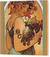 Fruit Wood Print by Alphonse Maria Mucha