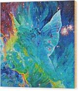 Galactic Angel Wood Print by Julie Turner