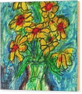 Garden Flower Mono-print Wood Print by Don Thibodeaux