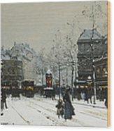 Gare Du Nord Paris Wood Print by Eugene Galien-Laloue