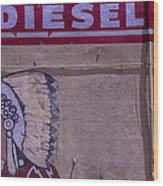 Gas Station Indian Chief Wood Print by Garry Gay