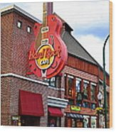 Gatlinburg Hard Rock Cafe Wood Print by Frozen in Time Fine Art Photography