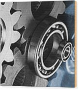 Gears And Cogwheels Reflection Wood Print by Christian Lagereek
