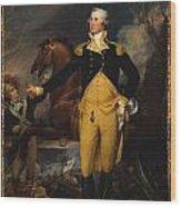 George Washington Before The Battle Of Trenton Wood Print by John Trumbull