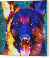 German Shepard - Electric Wood Print by Wingsdomain Art and Photography