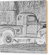 Ghost Of A Truck Wood Print by Jean Noren