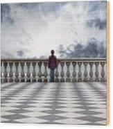 Girl On A Terrace Wood Print by Joana Kruse