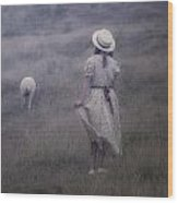 Girl With Sheeps Wood Print by Joana Kruse