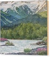 Glacier Creek Summer Evening Wood Print by Sharon Freeman