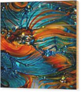 Glass Macro Abstract Rto Wood Print by David Patterson