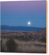Glowing Full Moon Wood Print by Phyllis Bradd