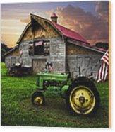 God Bless America Wood Print by Debra and Dave Vanderlaan
