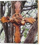 God The Father Cross Wood Print by Michael Pasko