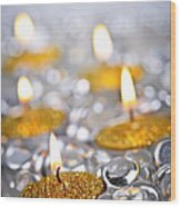 Gold Christmas Candles Wood Print by Elena Elisseeva