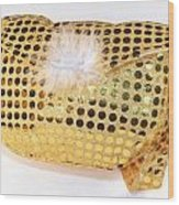 Gold Sequin Purse Wood Print by Jo Ann Snover