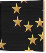 Gold Stars Abstract Triptych Part 2 Wood Print by Rose Santuci-Sofranko