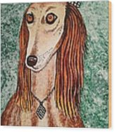 Golden Dog Wood Print by Jasna Gopic