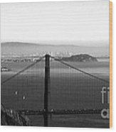 Golden Gate And Bay Bridges Wood Print by Linda Woods
