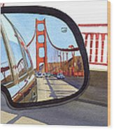 Golden Gate Bridge In Side View Mirror Wood Print by Mary Helmreich