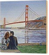Golden Gate Bridge San Francisco - Two Love Birds Wood Print by Irina Sztukowski