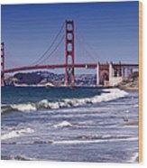 Golden Gate Bridge - Seen From Baker Beach Wood Print by Melanie Viola