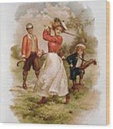 Golfing Wood Print by Ellen Hattie Clapsaddle