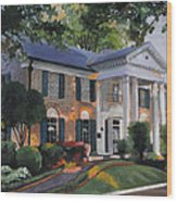Graceland Home Of Elvis Wood Print by Cecilia Brendel