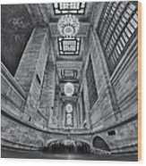 Grand Central Corridor Bw Wood Print by Susan Candelario