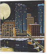 Grand Rapids Wood Print by Christy Beckwith