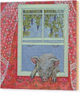 Grapes At The Window Wood Print by Ditz