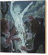 Graveyard Digger Ghost Rising From Grave Wood Print by Martin Davey