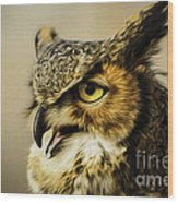 Great Horned Owl Wood Print by Julieanna D