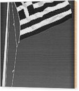 Greek Flag Wood Print by John Rizzuto