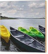 Green And Yellow Kayaks Wood Print by Carlos Caetano